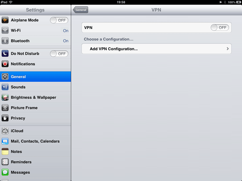 How to set up a VPN on an iPad: step 3