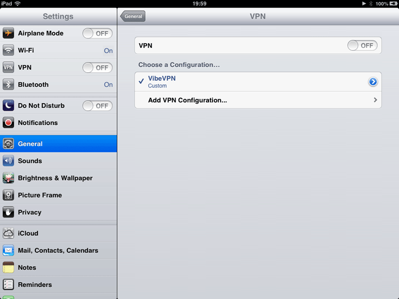 How to set up a VPN on an iPad: step 4
