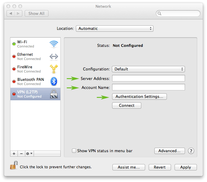 How to set up a VPN on a Mac laptop or desktop: step 4