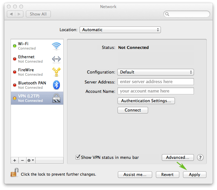 How to set up a VPN on a Mac laptop or desktop: step 7