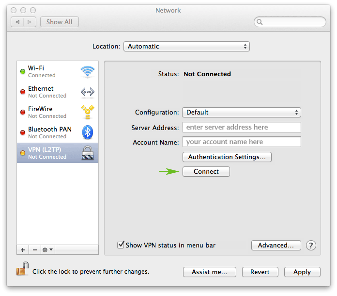 How to set up a VPN on a Mac laptop or desktop: step 8